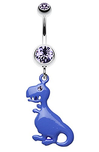 Vibrant Dinosaur Belly Button Ring - 14 GA (1.6mm) - Blue - Sold Individually