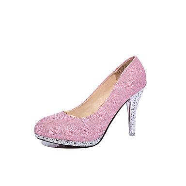 Botas de las mujeres de Otoño-Invierno Comodidad Vestido ocasional de la PU tacón grueso de la cremallera con cordones Negro Marrón Burdeos Pink