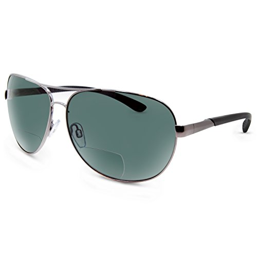 In Style Eyes C Moore Polarized Aviator Nearly Invisible Line Bifocal Sunglasses/Pewter/2.00 Strength