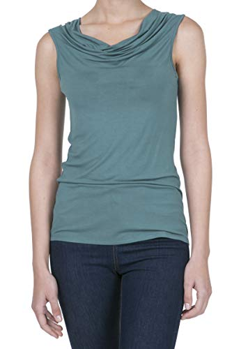 Teal Cowl Neck - iliad USA 8006 Women's Cowl Neck Ruched Draped Blouse Tank Top Teal XS