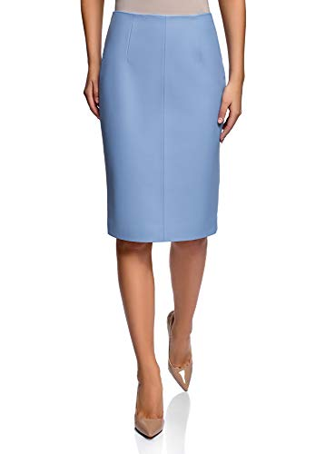 oodji Collection Women's Faux Leather Pencil Skirt, Blue, 10