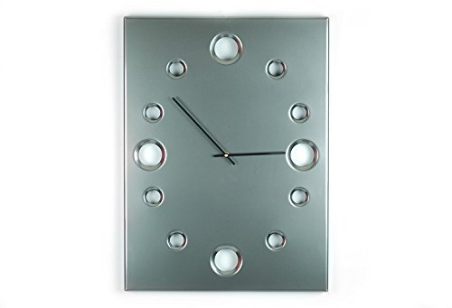 Black Chrome, Large Rectangular Metal Powder Coated Wall Clock, Sleek, Industrial, Modern and Unique, Silent (non-ticking)