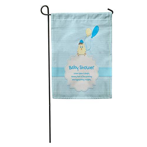 - Semtomn Garden Flag Blue Birth Baby Cute Chick Announcement Balloon Birthday Born Boy Home Yard House Decor Barnner Outdoor Stand 12x18 Inches Flag