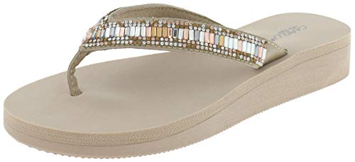Capelli New York Tonal Gem Trim Ladies Flip Flops Nude 6 ()