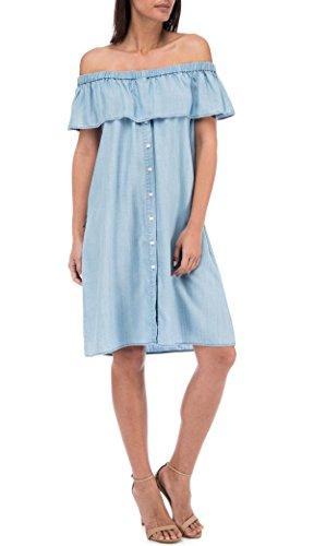 Striped Denim Dress Blue Rosie Bobeau Shoulder Off qAPPHU