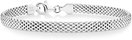 Miabella 925 Sterling Silver Italian 5mm Mesh Link Chain Bracelet for Women, 6.5, 7, 7.5, 8 Inch Made in Italy