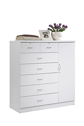 Hodedah HI71DR White 7 Chest with Locks on 2-Top Drawers Plus 1-Door with 3-Shelves (Furniture Discount Chester)