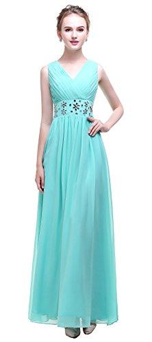 esvor Green Beadings Evening Bridesmaid Neck Long Mint Gown Prom Handmade Esovr V Chiffon Dresses r4OqHr