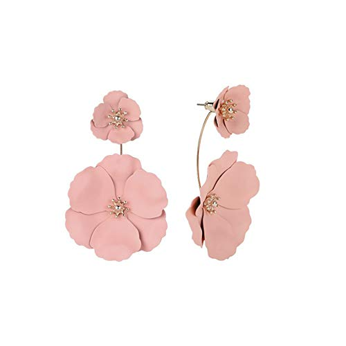 Metal Matte Dual Flower Petal Tiered Earrings Pierced Garden Party Drop Dangle Earrings Detachable Flower Earring Front and back Daisy Floral Petals Earrings For Women (Pink)