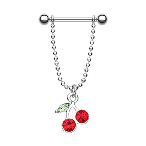 14 GA Cherry Dangle Nipple Barbell Ring 316 L Stainless Surgical Steel Body Ring For Women and Men Davana Enterprises (Sold by Pair)