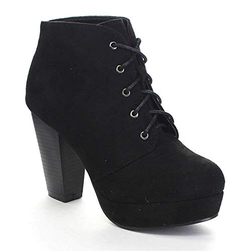 - Forever Camille-86 Women's Comfort Stacked Chunky Heel Lace Up Ankle Booties,Black,9