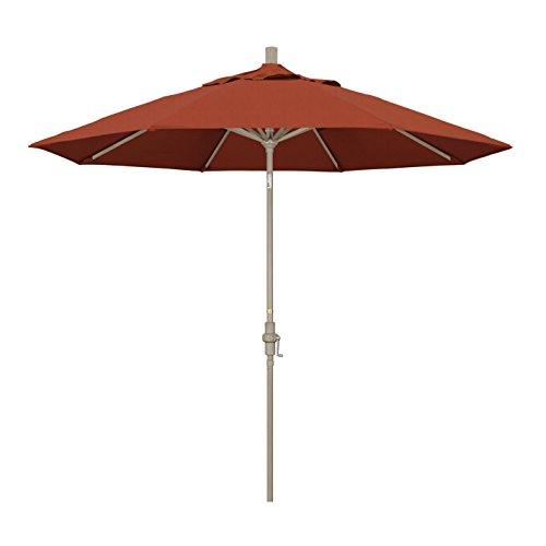 California Umbrella 9' Round Aluminum Market Umbrella, Crank Lift, Collar Tilt, Sand Pole, Sunbrella Brick (Sand Brick And Patio)