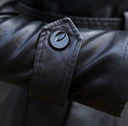 Helan Mujeres El deporte de cuero chaqueta de cuero de la motocicleta de la PU de largo Negro
