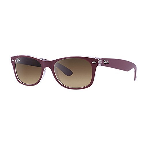Ray-Ban Men's New Wayfarer Square Sunglasses, Top Matte Bordo' on Tran, 55 - Ban Ray 2132 Red