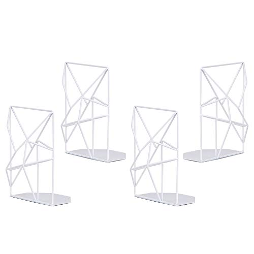 SRIWATANA Book Ends White, Decorative Metal Bookends for Shelves, Unique Geometric Design, Non-Scratching(2 Pairs)