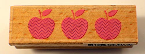 ShopForAllYou Stamping & Embossing Apple Trio Whimsical Dotted Hampton Art Wooden Rubber Stamp