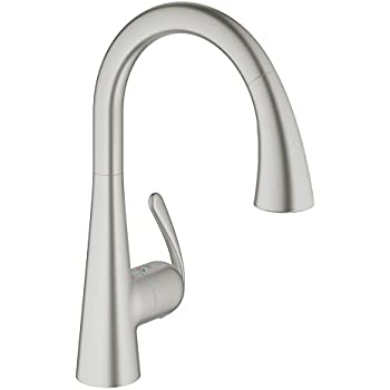 GROHE LadyLux3 Café Single Handle Pull Down Kitchen Faucet, Super Steel  Infinity