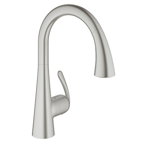 Faucet Swivel Grohe - GROHE LadyLux3 Café Single-Handle Pull-Down Kitchen Faucet, Super Steel Infinity