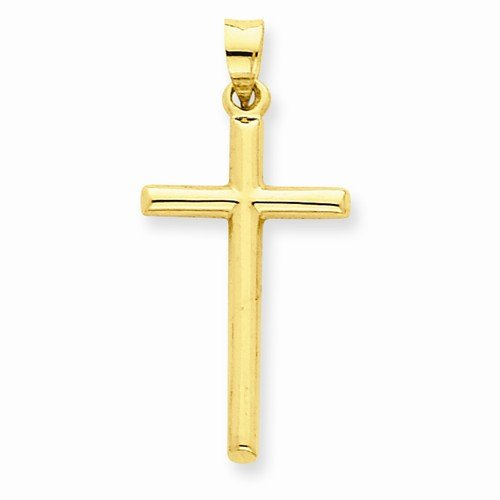Hollow Tube Gold Cross - 14k Yellow Gold Polished Hollow Tube Cross Crucifix Pendant (31mm x 15mm)