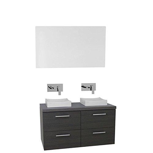 "Iotti Iotti AN399 Aurora Double Vessel Sink Bathroom Vanity Wall Mounted with Mirror Included, 37"", Grey Oak cheap"