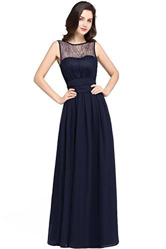 MisShow Women's Navy Blue Maxi Lace Chiffon Bridesmaid Evening Party Dresses US6
