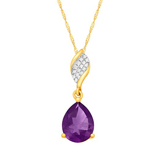 1 3/8 ct Natural Amethyst Pendant with Diamonds in 10K Gold, - Singapore Purple Gold