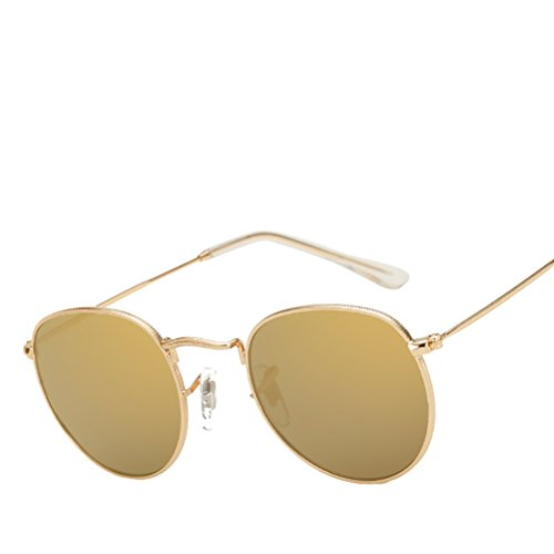 Men gold with Sunglasses Zhhyltt Classic Women des for Vintage Personality Glasses Polarized Gold Case Round frame soleil lunettes de U6qzU
