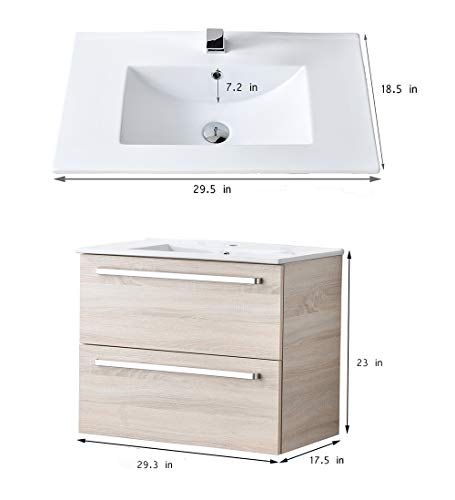 """VCCUCINE Modern 29"""" Beige 2 Drawers Floating Wall Mounted Bathroom Vanity, Storage Cabinet with White Ceramic Vessel Basin Top Vanity Sink Combo - Eco-Friendly construction:MDF wood board and melamine finish Convenient storage:Two large drawers with large capacity help your room clean and tidy Modern and natural design matches almost any bathroom. Wall-mounted style saves space and makes room cleaning easier. - bathroom-vanities, bathroom-fixtures-hardware, bathroom - 31QuYfg 2UL -"""