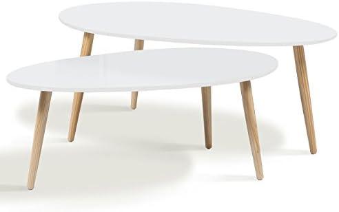 Idmarket Lot De 2 Tables Basses Gigognes Laquees Blanc