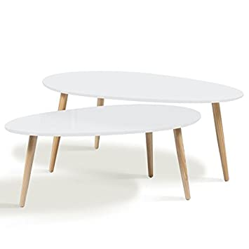 Idmarket Lot De 2 Tables Basses Gigognes Laquees Blanc Scandinave