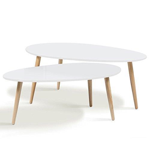 grossiste d2ae1 7df18 IDMarket - Lot de 2 Tables Basses gigognes laquées Blanc scandinave