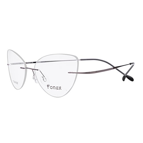 FONEX Titanium Cat eye Rimless Glasses Eyeglasses Myopia Optical Frames 10001 (Grey, 52)