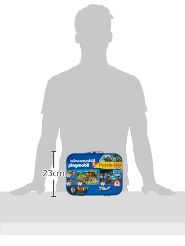 Schmidt-Spiele-55599-Playmobil-Caja-Puzzle-2-x-60-2-x-100-piezas-en-una-caja-de-metal