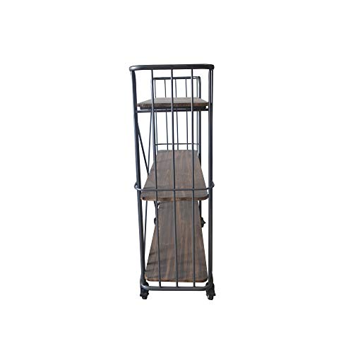 Herrera 41.73'' Bookcase in Dark Gray with Casters, Shaped Tubular Steel Frame And Three Solid Wood Shelves, by Artum Hill by Artum Hill (Image #5)