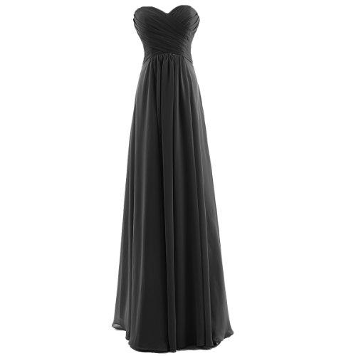 Dresstells Strapless Floor-length Chiffon Bridesmaid Dress Long Evening Gown Formal for Juniors Plus Size 22W Black