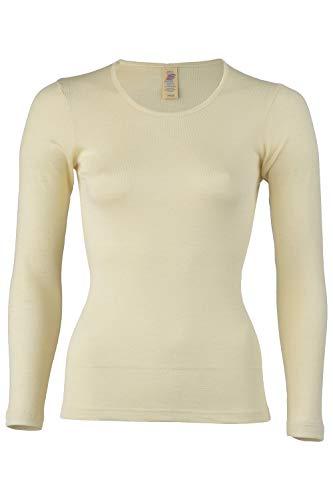 Women's Thermal Base Layer Top - Lightweight Moisture Wicking Merino Wool Silk Undershirt (EU 46-48 | Large, Natural)
