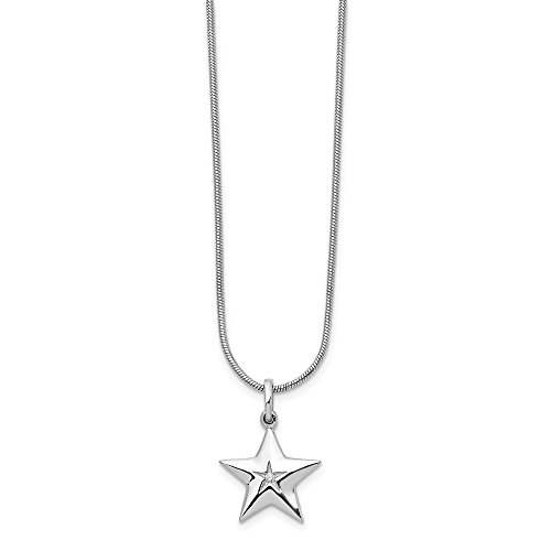 Sterling Silver Diamond Star Necklace 18in (0.01CT)
