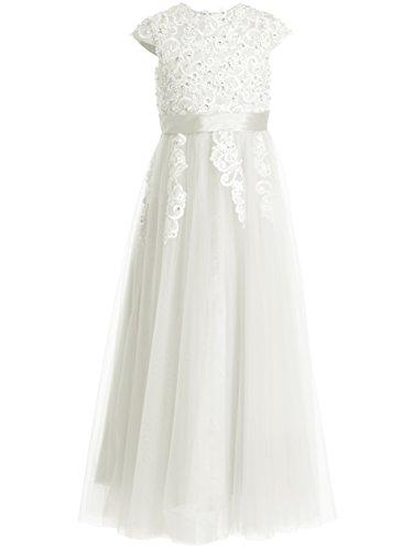 FAIRY COUPLE Girl's Applique Cap Sleeve Floor Length Flower Girl Dress K0180 (10, Ivory) by FAIRY COUPLE