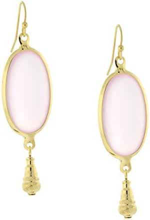 Gold-Tone and Pink Oval Drop Earrings