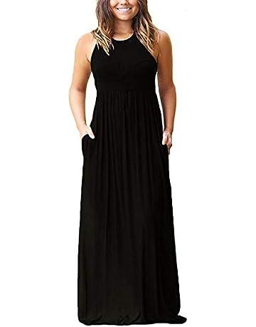 9b539292b4 SouqFone Women s Casual Maxi Dress Loose Plain Pleated Long Dresses with  Pockets Empire Waist
