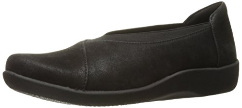 CLARKS Women's Sillian Holly Flat, Black Synthetic, 6.5 M US