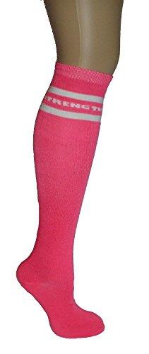 Pink Ribbon Knee High Tube Socks Breast Cancer Awareness One Size (Komen Pink Ribbon)