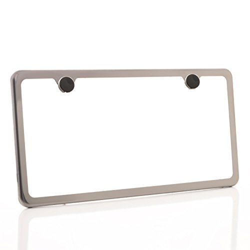 One Black Smoke Chrome Titanium Gun Metal T304 Stainless Steel Two Hole Slim License Plate Frame Holder Front Or Rear Bracket with Aluminum Screw Cap