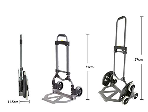 Portable Trolley, Climb The Stairs Luggage Cart Hand Truck Steel Shopping Cart Mute Trolley Folding Van Pull Portable Small Six-wheeled Cart Black Load 30 To 70 Kg (Color : GRAY) ( Color : Gray ) by Zehaer (Image #2)