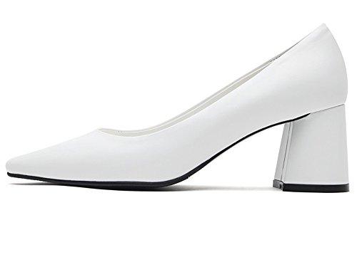 Karen Witte Dames Klassieke Pumps Middenhoge Blok Hakken Puntschoen Schoenen, Verkrijgbaar In Meerdere Kleuren Wit