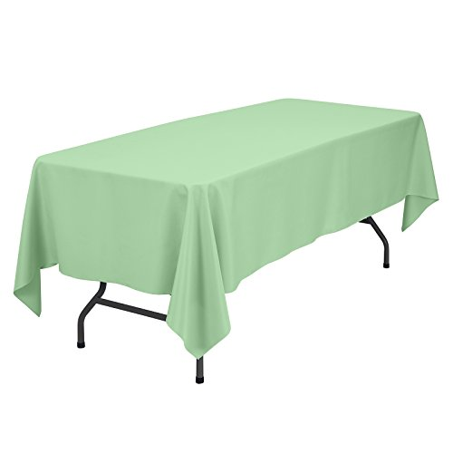 VEEYOO Rectangular Tablecloth 60 x 102 inch - Solid Polyester Table Cover for Wedding Restaurant Party Rectangle Oblong Oval Table, Mint Green Table Cloth