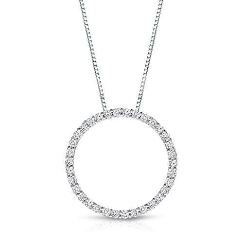 3/4 Carat Circle of Life Diamond Pendant Necklace in 14k White Gold (cttw, J-K, I1-I2) with 18-inch chain by Diamond Wish