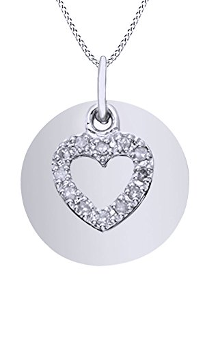 AFFY White Natural Diamond Heart with Disc Pendant Necklace in 14k White Gold Over Sterling Silver