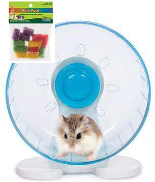(Robo Hamster Wheel: 8 inch Prevue Quiet Wheel with Bearings Bundled with Ware Rice Pops)