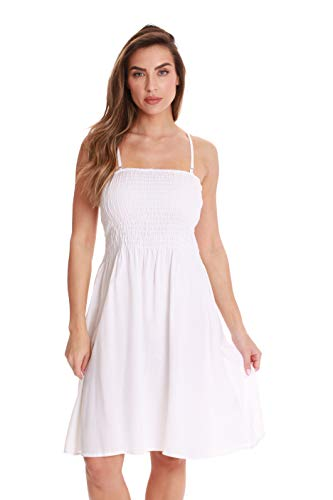 Riviera Sun Solid Short Dress with Smocking 21886-WHT-XL White